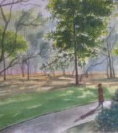Landscape Watercolor Art Painting title Strolling through Cubbon park by artist Lasya Upadhyaya