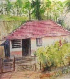 Landscape Watercolor Art Painting title 'A peaceful morning at Wayanad' by artist Lasya Upadhyaya