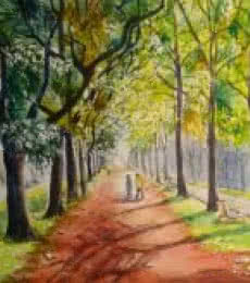 Realistic Watercolor Art Painting title 'Blissful shades of Cubbon park' by artist Lasya Upadhyaya