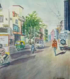 Bangalore Cityscape 1 | Painting by artist Lasya Upadhyaya | watercolor | Paper
