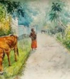 Scenic Watercolor Art Painting title 'Daybreak in Kerala' by artist Lasya Upadhyaya