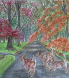Landscape Acrylic Art Painting title Sprinting through the park by artist Lasya Upadhyaya