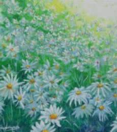Nature Acrylic Art Painting title 'White flower field' by artist Lasya Upadhyaya