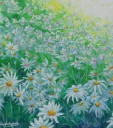 White flower field | Painting by artist Lasya Upadhyaya | acrylic | Canvas Board