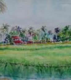 Landscape Watercolor Art Painting title 'Shimoga landscape' by artist Lasya Upadhyaya
