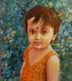 Figurative Acrylic Art Painting title Sparkling with innocence by artist Lasya Upadhyaya