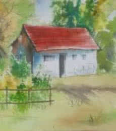 Landscape Watercolor Art Painting title House in the woods by artist Lasya Upadhyaya
