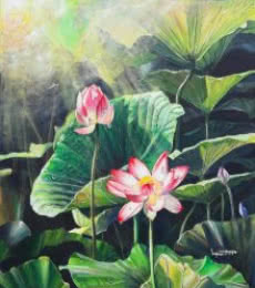 Jewel - of - the - swamp | Painting by artist Lasya Upadhyaya | acrylic | Canvas