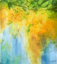 Nature Watercolor Art Painting title 'Golden shower' by artist Lasya Upadhyaya