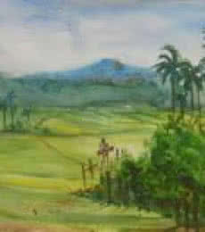 Landscape Watercolor Art Painting title The place where time stops by artist Lasya Upadhyaya