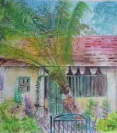 Landscape Watercolor Art Painting title 'Memories of Shimoga' by artist Lasya Upadhyaya