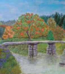 Landscape Acrylic Art Painting title Stone bridge amidst nature by artist Lasya Upadhyaya