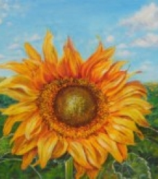 Lasya Upadhyaya | Acrylic Painting title The golden sunflower on Canvas Board | Artist Lasya Upadhyaya Gallery | ArtZolo.com
