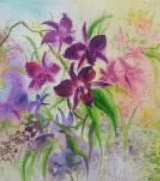 Nature Watercolor Art Painting title 'Symphony of orchids' by artist Lasya Upadhyaya