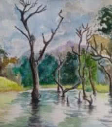 The Silent Creek | Painting by artist Lasya Upadhyaya | watercolor | Paper