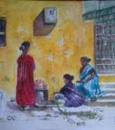 Three friends | Painting by artist Lasya Upadhyaya | watercolor | Paper