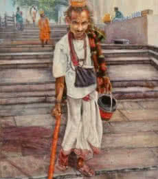 Figurative Acrylic Art Painting title 'Vagrant in Ganga ghat' by artist Lasya Upadhyaya
