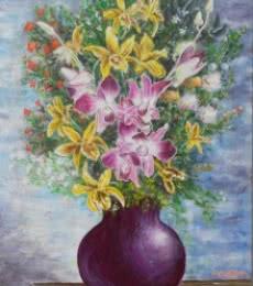 Vase of orchids | Painting by artist Lasya Upadhyaya | acrylic | Canvas Board