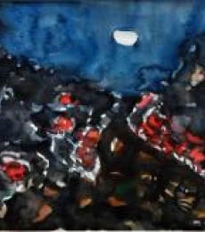 Moonlit Village 1   Painting by artist Asit Poddar   watercolor   Canvas