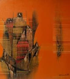 Abstract Acrylic Art Painting title 'Conquer Orange Abstract' by artist Rahul Dangat