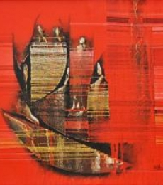 Abstract Acrylic Art Painting title 'Conquer Red Abstract' by artist Rahul Dangat