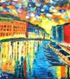 Cityscape Oil Art Painting title 'A Night In Venice' by artist Kiran Bableshwar