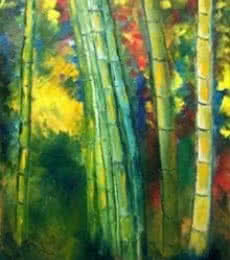 Kiran Bableshwar | Oil Painting title Bamboo Trees on Canvas | Artist Kiran Bableshwar Gallery | ArtZolo.com