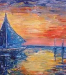 Seascape Oil Art Painting title 'Boats' by artist Kiran Bableshwar