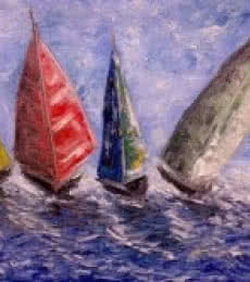 Seascape Oil Art Painting title Boats On A Rough Sea by artist Kiran Bableshwar