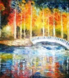 Impressionist Oil Art Painting title 'Bridge Over My River' by artist Kiran Bableshwar