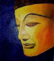 Religious Oil Art Painting title 'Buddha Golden Radiance' by artist Kiran Bableshwar