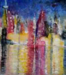 Impressionist Oil Art Painting title 'Cityscape' by artist Kiran Bableshwar