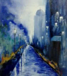 Cityscape Oil Art Painting title 'Evening City' by artist Kiran Bableshwar