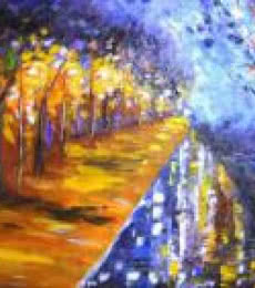 Kiran Bableshwar | Oil Painting title Evening Walk Near Sankey Tank 20x13 Inc on Canvas | Artist Kiran Bableshwar Gallery | ArtZolo.com