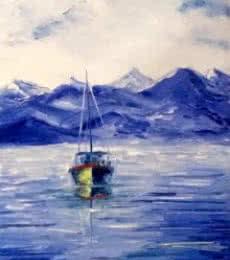 Seascape Oil Art Painting title Fishing Boat by artist Kiran Bableshwar