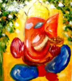 Ganesha | Painting by artist Kiran Bableshwar | oil | Canvas