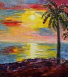 Landscape Oil Art Painting title 'Kerala Sunset' by artist Kiran Bableshwar