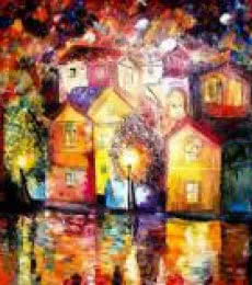 Impressionist Oil Art Painting title 'Night After The Shower 23x32 Inches' by artist Kiran Bableshwar