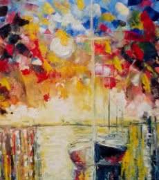 Impressionist Oil Art Painting title Pier Regalia10x18 by artist Kiran Bableshwar
