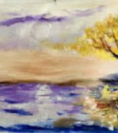 Tree at horizon | Painting by artist Kiran Bableshwar | oil | Canvas