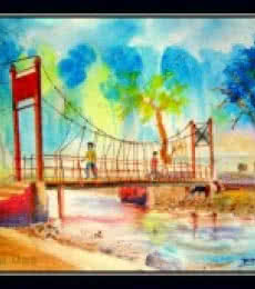 Water pool...nd Backgraound hill... | Painting by artist Biki Das | watercolor | Handmade Paper