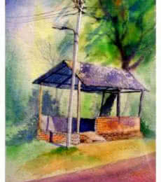 Landscape Watercolor Art Painting title 'Plain air' by artist Biki Das