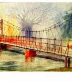 Landscape Watercolor Art Painting title Plain air by artist Biki Das