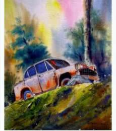 Biki Das | Watercolor Painting title Plain air on Paper | Artist Biki Das Gallery | ArtZolo.com
