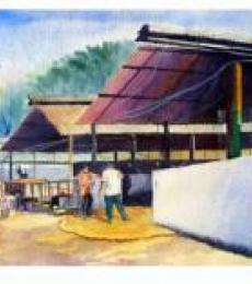 Figurative Watercolor Art Painting title Plain air by artist Biki Das