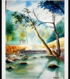 Nature Watercolor Art Painting title 'Plain Air' by artist Biki Das