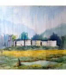 Biki Das | Watercolor Painting title Landscape on Paper | Artist Biki Das Gallery | ArtZolo.com