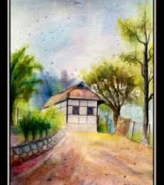 One of house..hill Area | Painting by artist Biki Das | watercolor | Handmade Paper