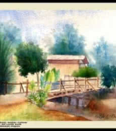 Landscape Watercolor Art Painting title 'One a wood bridge very ricsy' by artist Biki Das