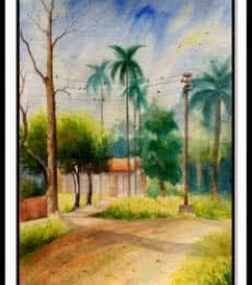 One of house.And 1 tarning Road | Painting by artist Biki Das | watercolor | Handmade Paper